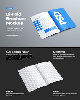 Mockup realistico per la presentazione di opuscoli di design