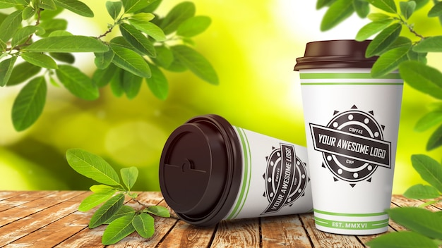 Realistic mockup of two disposable paper coffee cups