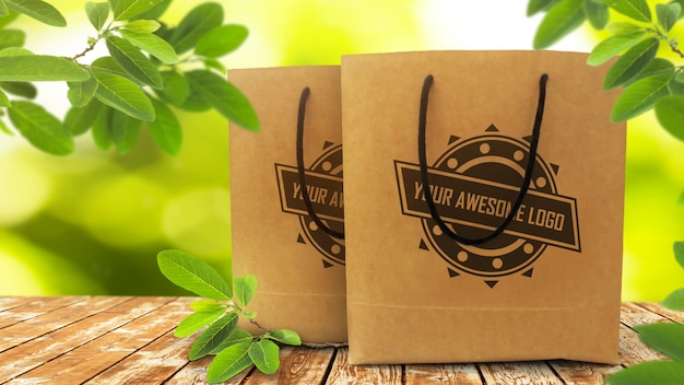 Realistic mockup of two disposable paper shopping bags on rustic wooden table