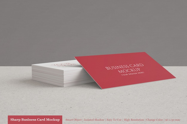 Realistic modern 90x50mm textured paper business card mockup templates