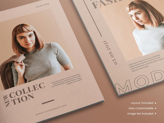 현실적인 현대적이고 미니멀한 우아한 브로셔 또는 전단지, 잡지 표지 모형