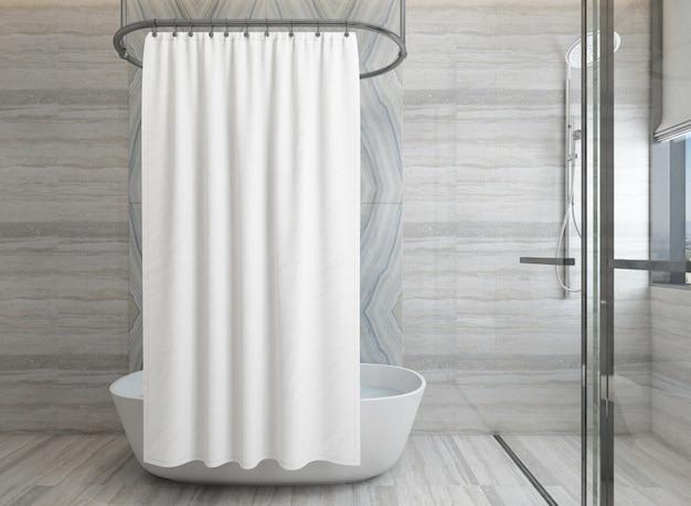 Реалистичная современная ванная комната с душем и ванной