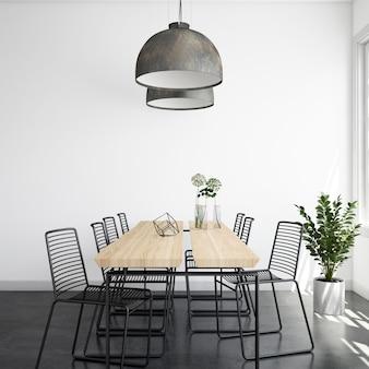 나무 테이블과 의자가있는 현실적인 현대 밝은 식당