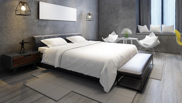 家具とフレームを備えた現実的なモダンなダブルベッドルーム