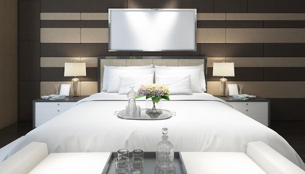 가구와 프레임 현실적인 현대 더블 침실