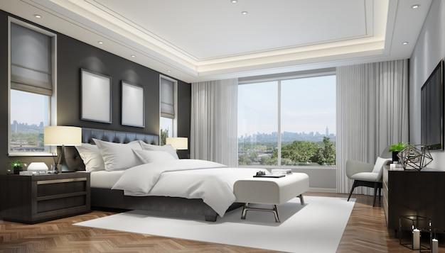 Реалистичная современная двухместная спальня с мебелью и рамой