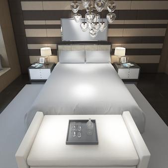 Camera matrimoniale moderna realistica con mobili e una cornice