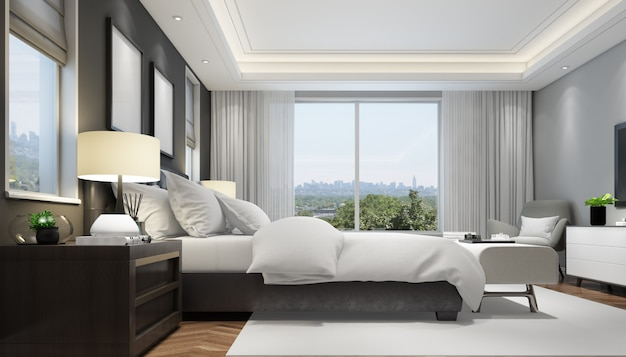 Realistic modern double bedroom with furniture and a frame