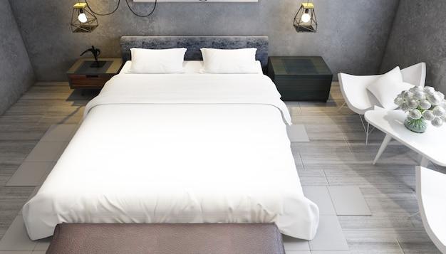 Реалистичная современная двухместная спальня с мебелью