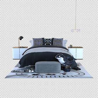 Реалистичная современная спальня с двуспальной кроватью и мебелью