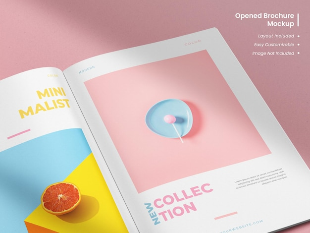Realistic modern and elegant minimalist close up opened magazine or brochure mockup with template layout design