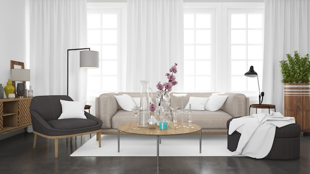 Realistic modern living room with sofa and white wall