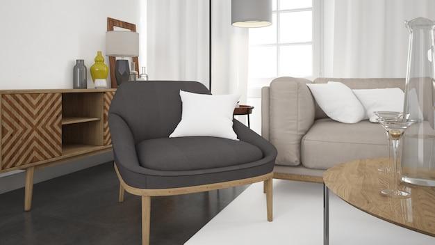 Soggiorno moderno realistico con divano e parete bianca