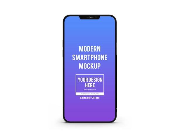 分離された現実的な現代のスマートフォンのモックアップテンプレート