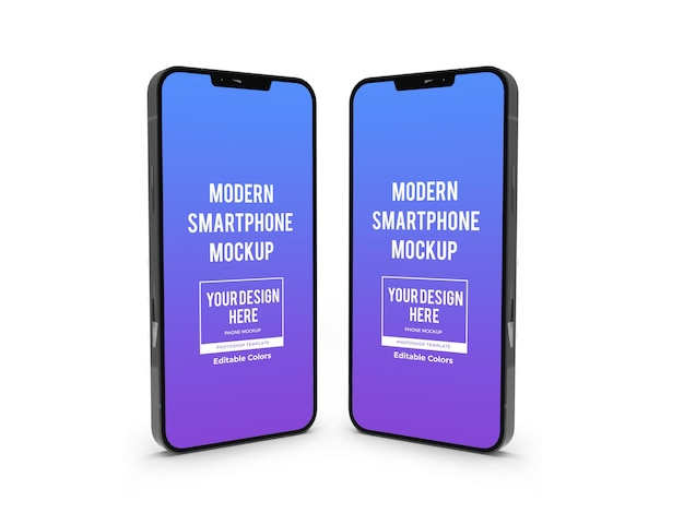 Realistic modern smartphone mockup template isolated