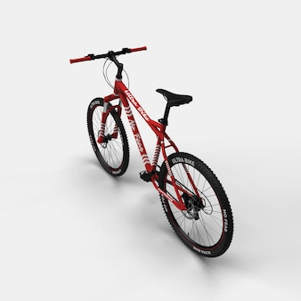Realistic mountain bike bmx bicycle 3d mockup back view