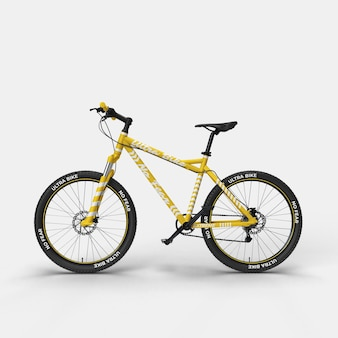 Realistic mountain bike bmx bicycle 3d mockup side view