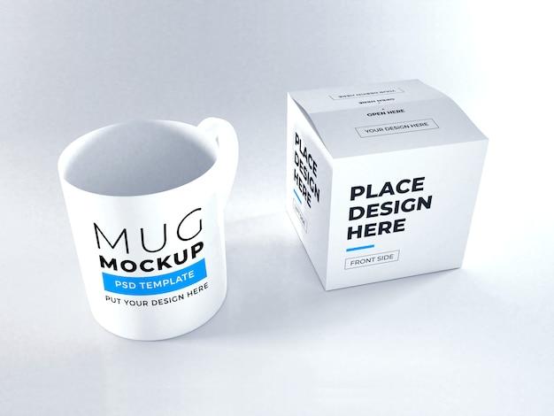 Realistic mug and box packaging mockup template psd