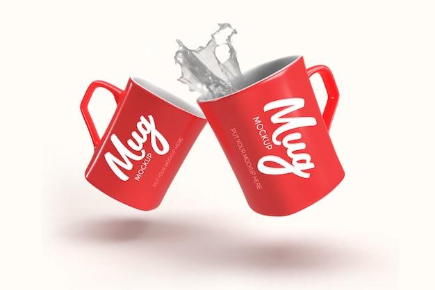 Realistic mugs mockup