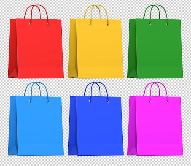 Realistic multicolored paper shopping bags