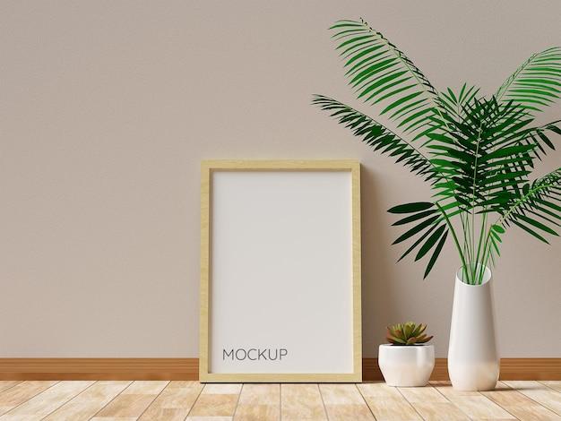 식물이있는 사진 프레임 모형의 현실적