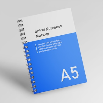 Realistic one bussiness hardcover spiral binder notebook mock up design template in front view