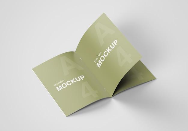 Realistic opened brochure or magazine mockup design