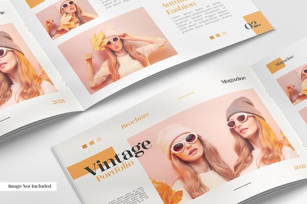 Realistic opened brochure or magazine pattern mockup