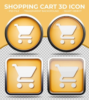 リアルなオレンジ色のガラスボタン光沢のある円形と正方形の3dショッピングカートアイコン