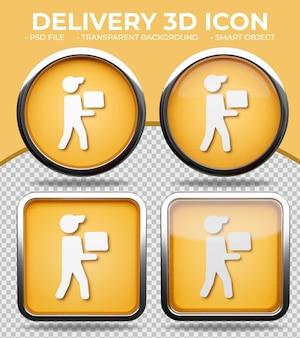 Realistic orange glass button shiny round and square 3d delivery boy icon