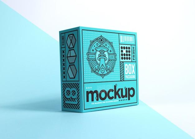 Реалистичная упаковка синий ящик дизайн макета изолированы