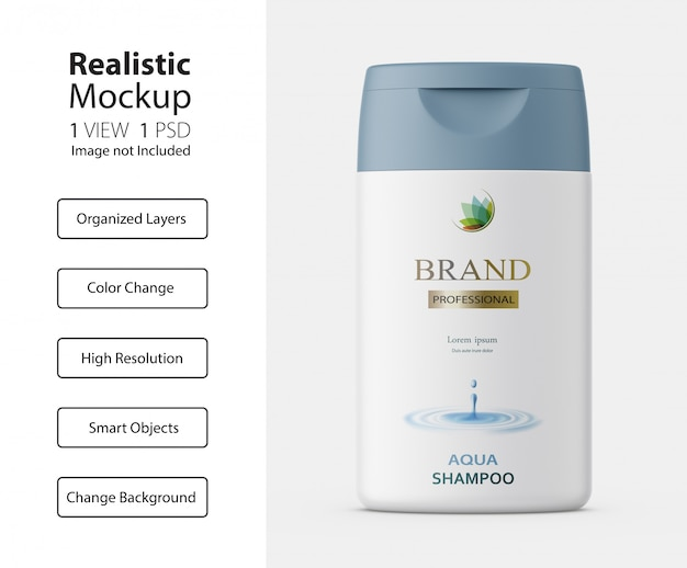 Realistic packaging of shampoo bottle mockup