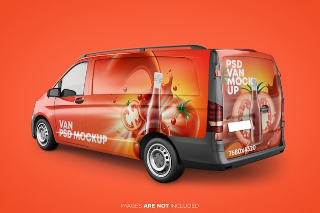 Realistic panel van psd mockup back perspective view