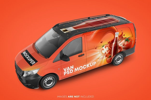 Realistic panel van psd mockup front perspective view