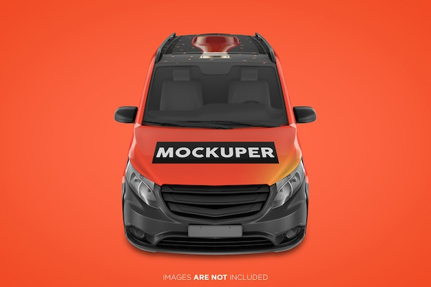 Realistic panel van psd mockup front view