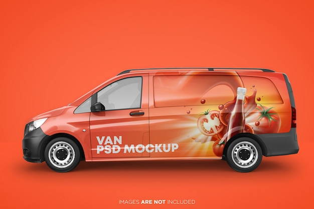 Realistic panel van psd mockup side view