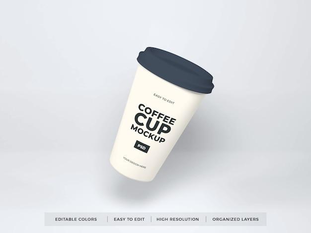 Реалистичный шаблон макета бумажной чашки кофе