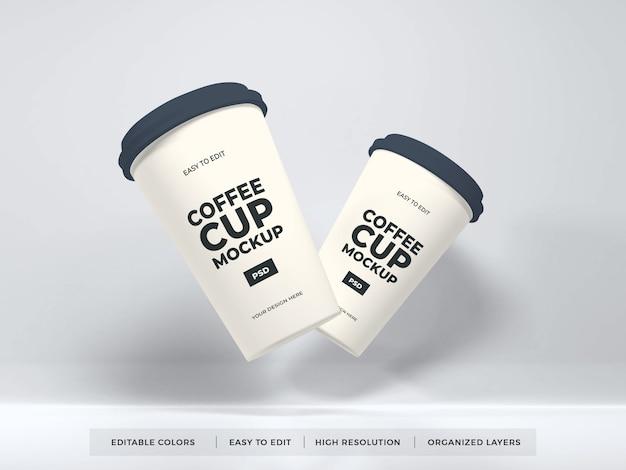 Реалистичный макет бумажной чашки кофе
