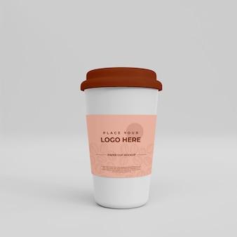 リアルな紙のコーヒーカップのモックアップ