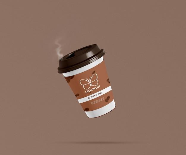 Реалистичный бумажный стаканчик для кофе с дымом