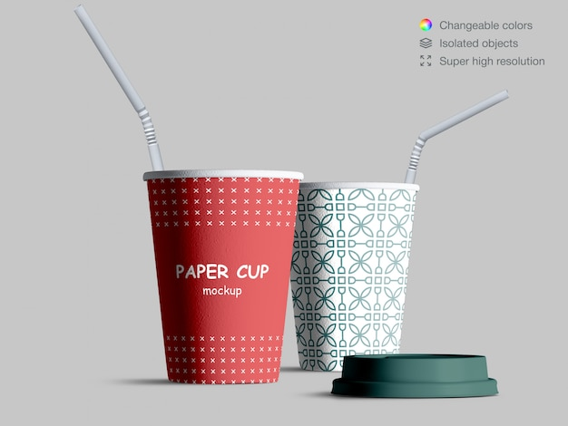 Realistic paper cups mockup with cocktail straws