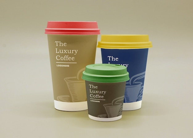 Realistic paper cups packaging mockup