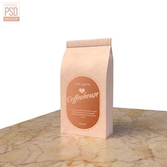 Realistic paper food bag mockup