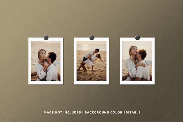 グランジ背景の現実的な紙フレーム写真モックアップ