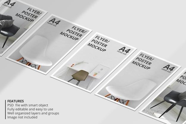 Реалистичный дизайн макета брошюры или листовки с наложением теней