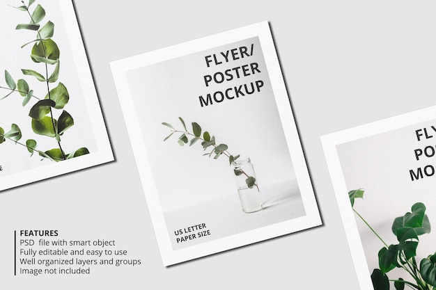 リアルな紙やチラシのパンフレットのモックアップデザイン