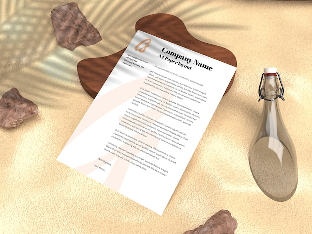 Реалистичное бумажное портфолио для компании и макет рекламного флаера