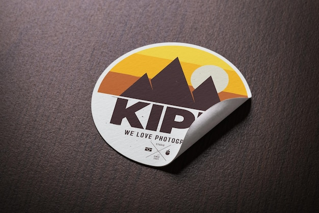 Realistic paper sticker mockup template