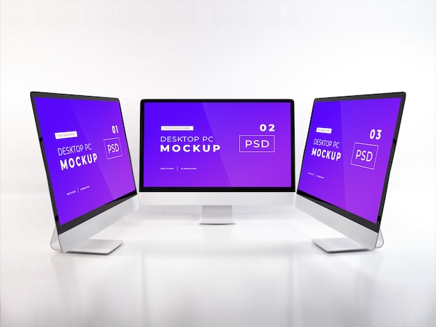Realistic personal computer mockup