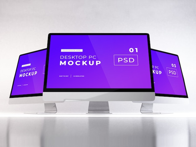 Realistic personal computer mockup